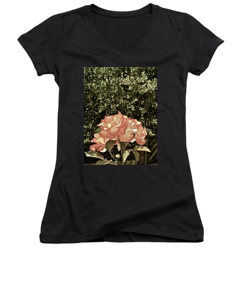 Rose 55 Women's V-Neck T-Shirt (Junior Cut) by Pamela Cooper