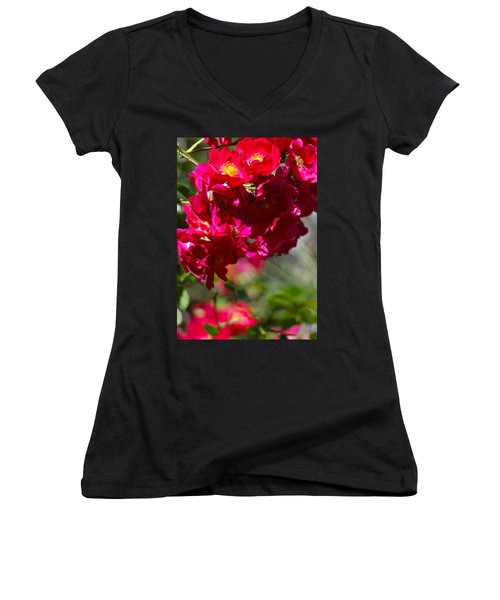 Women's V-Neck T-Shirt (Junior Cut) featuring the photograph Rose Bouquet by Michele Myers