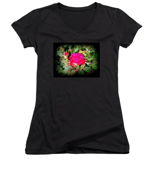 Rose Garden Centerpiece Women's V-Neck (Athletic Fit)