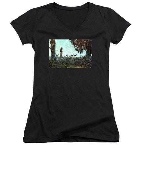 Rose Hill - Autumn Women's V-Neck T-Shirt (Junior Cut) by Ed Hall