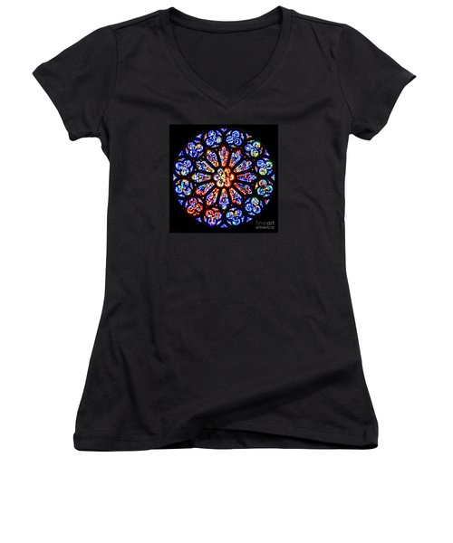 Rose Window Of Grace Cathedral By Diana Sainz Women's V-Neck
