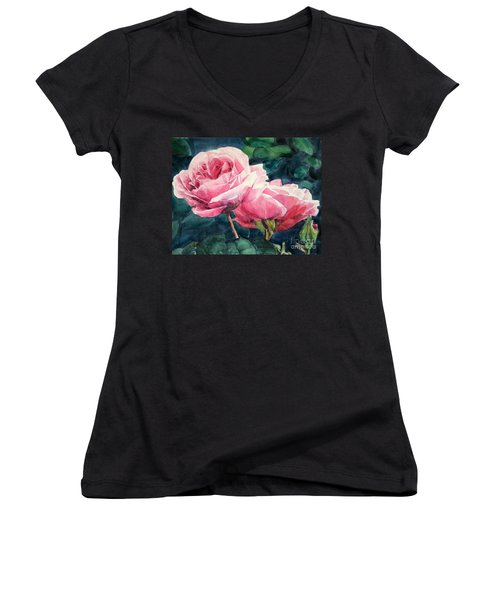 Watercolor Of Two Luscious Pink Roses Women's V-Neck (Athletic Fit)