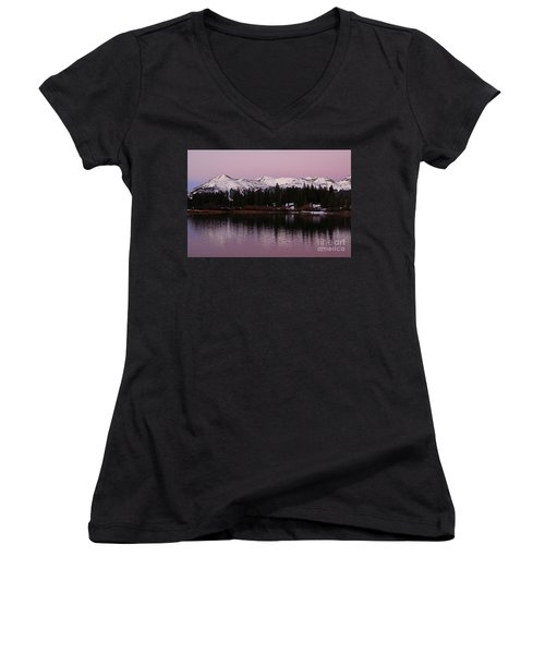 Rosey Lake Reflections Women's V-Neck T-Shirt