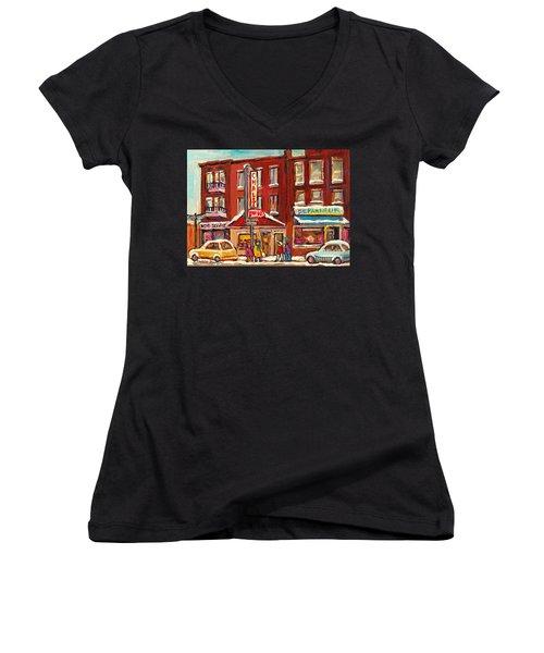 Rotisserie Le Chalet Bar B Q Sherbrooke West Montreal Winter City Scene Women's V-Neck T-Shirt (Junior Cut) by Carole Spandau