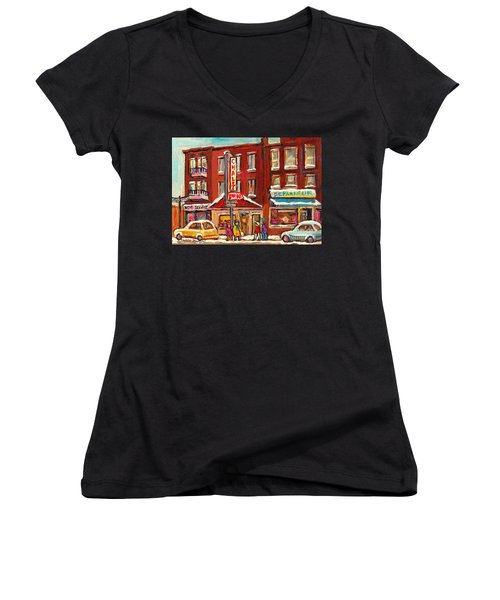 Rotisserie Le Chalet Bar B Q Sherbrooke West Montreal Winter City Scene Women's V-Neck T-Shirt