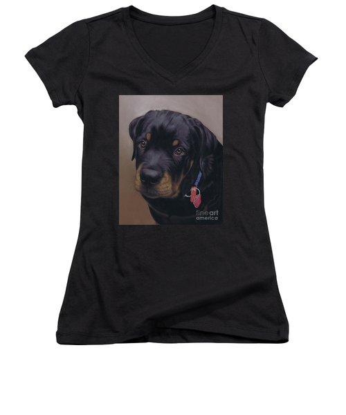 Rottweiler Dog Women's V-Neck