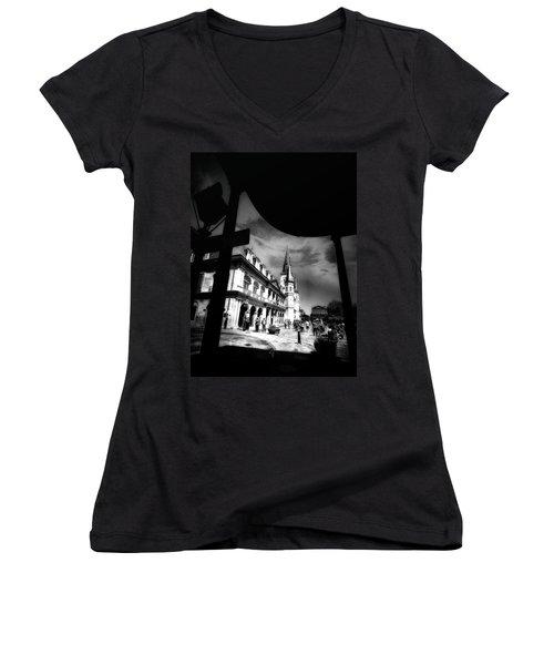 Round Corner Women's V-Neck T-Shirt (Junior Cut) by Robert McCubbin
