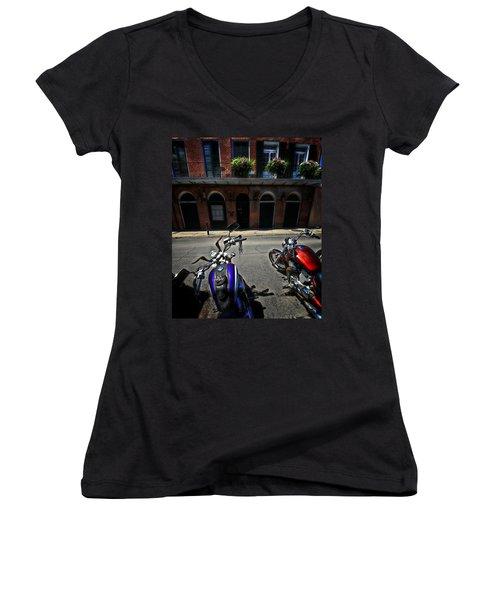 Round N Rounds Women's V-Neck T-Shirt (Junior Cut) by Robert McCubbin