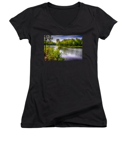 Women's V-Neck T-Shirt (Junior Cut) featuring the photograph Round The Bend 35 by Mark Myhaver