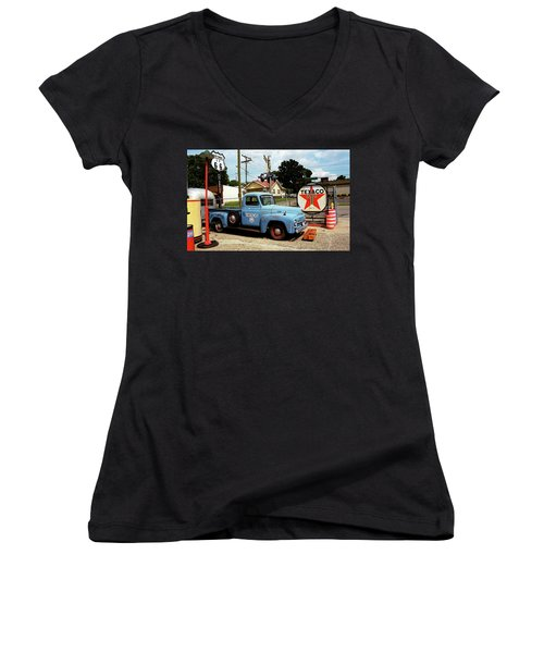 Route 66 - Gas Station With Watercolor Effect Women's V-Neck T-Shirt