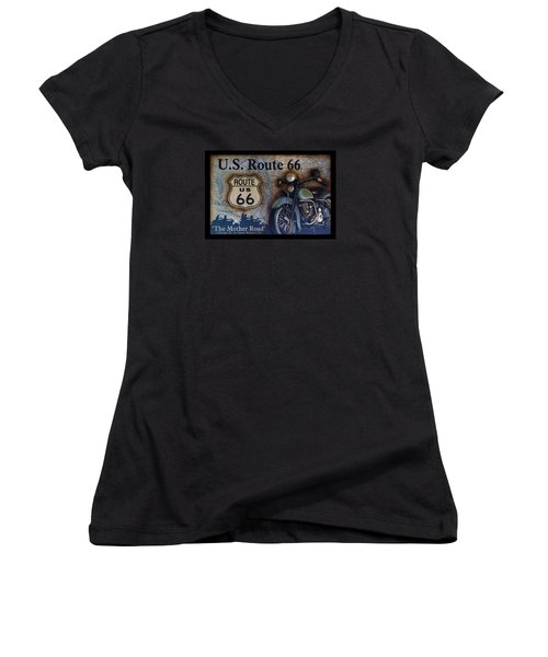 Route 66 Odell Il Gas Station Motorcycle Signage Women's V-Neck T-Shirt (Junior Cut) by Thomas Woolworth