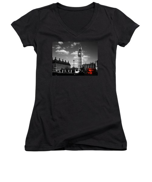 Routemaster Bus On Black And White Background Women's V-Neck T-Shirt