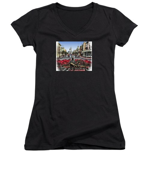 Roy And Minnie Mouse Walt Disney World Women's V-Neck T-Shirt (Junior Cut) by Thomas Woolworth