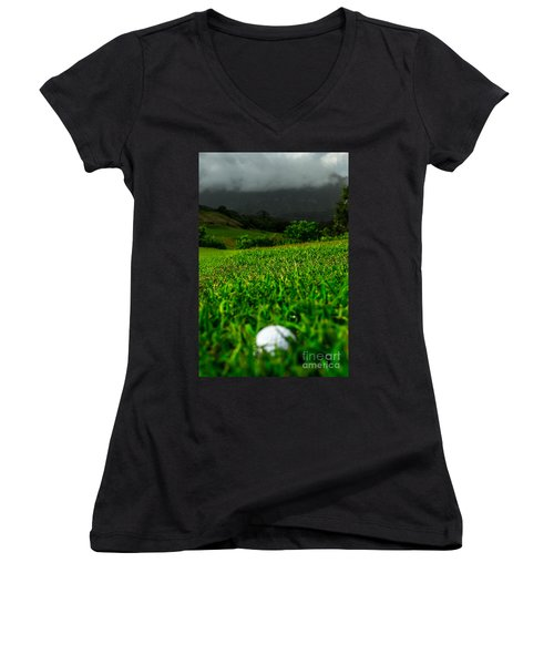 Women's V-Neck T-Shirt (Junior Cut) featuring the photograph Royal Hawaiian Golf by Angela DeFrias