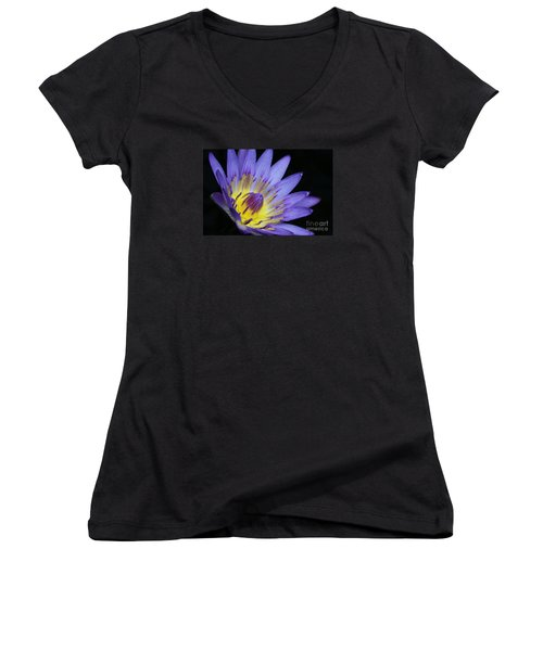 Royal Purple Water Lily #14 Women's V-Neck T-Shirt (Junior Cut) by Judy Whitton