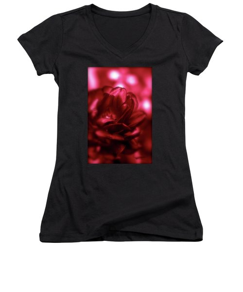 Ruby Red  Dahlia With Bokeh Women's V-Neck T-Shirt