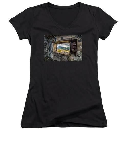 Ruin With A View  Women's V-Neck T-Shirt (Junior Cut) by Adrian Evans