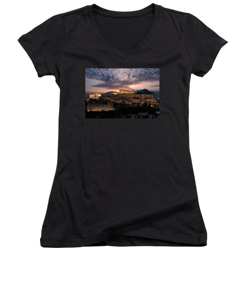 Ruins Of A Temple, Athens, Attica Women's V-Neck (Athletic Fit)
