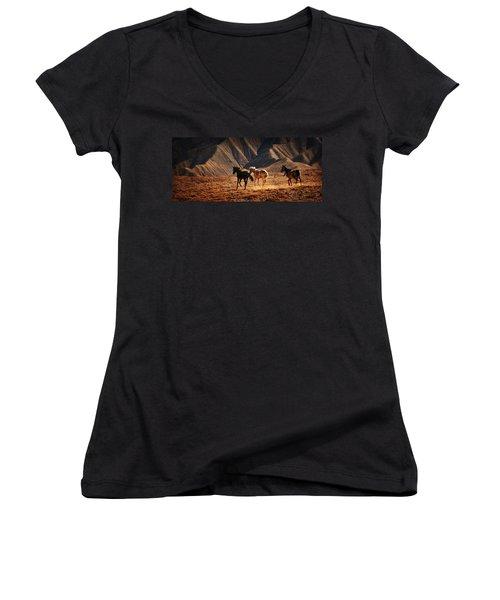 Women's V-Neck T-Shirt (Junior Cut) featuring the photograph Running Free by Priscilla Burgers