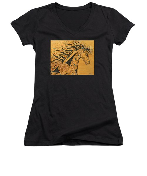 Runs With The Wind Women's V-Neck T-Shirt (Junior Cut) by Susie WEBER