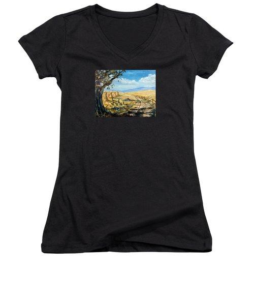 Rural Farmland Americana Folk Art Autumn Harvest Ranch Women's V-Neck T-Shirt (Junior Cut) by Lee Piper