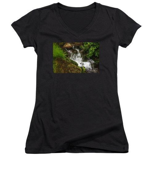 Rushing Mountain Stream And Moss Women's V-Neck
