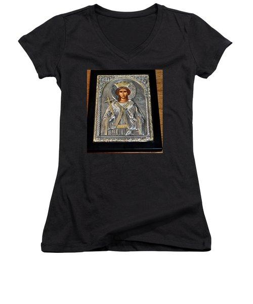 Russian Byzantin Icon Women's V-Neck T-Shirt (Junior Cut) by Jay Milo