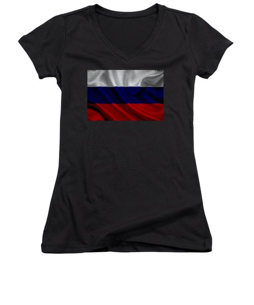 Russian Flag Waving On Canvas Women's V-Neck (Athletic Fit)