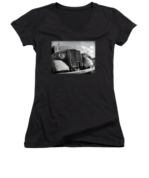 Women's V-Neck T-Shirt (Junior Cut) featuring the photograph Rustic Beauty by Micki Findlay