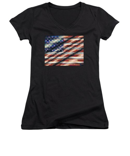 Rustic Usa Women's V-Neck (Athletic Fit)