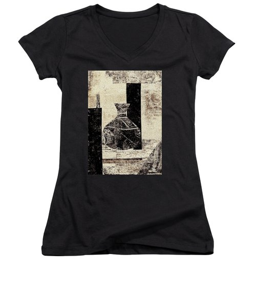 Rustic Vase Black And White Women's V-Neck T-Shirt (Junior Cut) by Patricia Cleasby