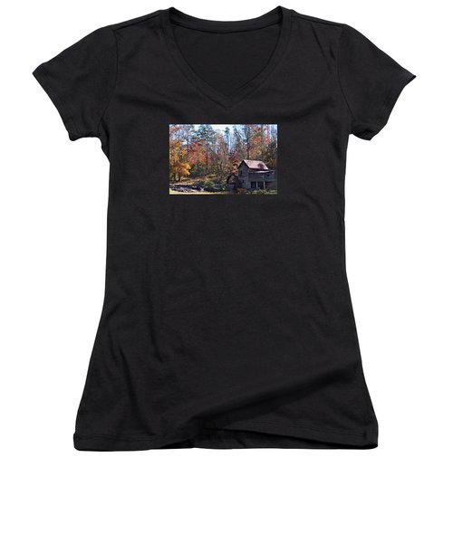 Women's V-Neck T-Shirt (Junior Cut) featuring the photograph Rustic Water Mill In Autumn by William Tanneberger