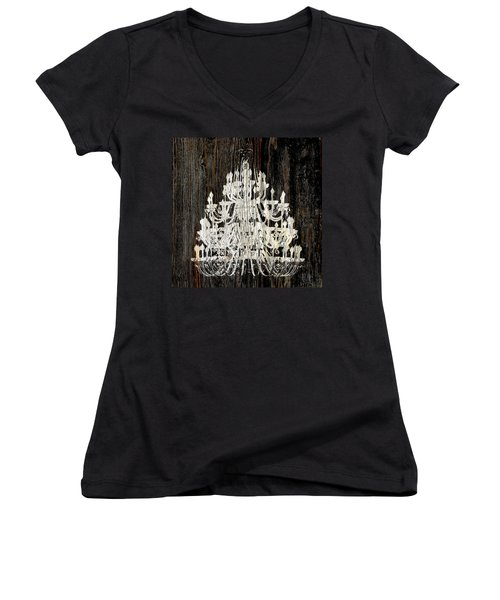 Women's V-Neck T-Shirt (Junior Cut) featuring the photograph Rustic Shabby Chic White Chandelier On Wood by Suzanne Powers