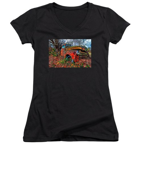 Women's V-Neck T-Shirt (Junior Cut) featuring the photograph Rusty 1950 Chevrolet by Andy Crawford