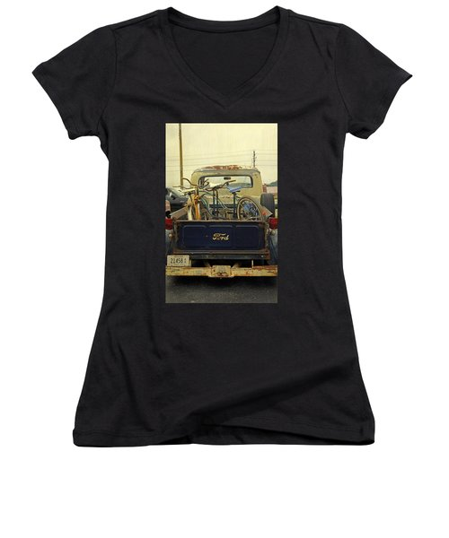 Rusty Haul Women's V-Neck T-Shirt (Junior Cut) by Laurie Perry