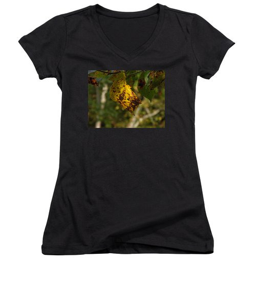 Women's V-Neck T-Shirt (Junior Cut) featuring the photograph Rusty Leaf by Nick Kirby