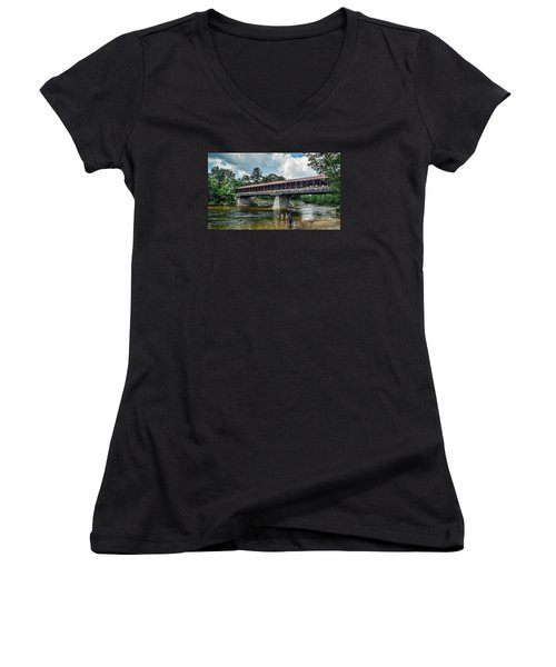 Women's V-Neck T-Shirt (Junior Cut) featuring the photograph Saco River Covered Bridge  by Debbie Green