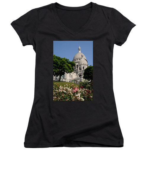 Sacre Coeur Flowers Women's V-Neck T-Shirt (Junior Cut) by Jeremy Voisey