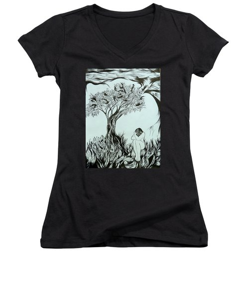 Sadness Women's V-Neck T-Shirt