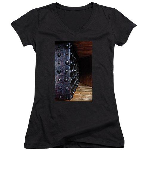 Safely Hidden Women's V-Neck T-Shirt (Junior Cut) by Linda Bianic