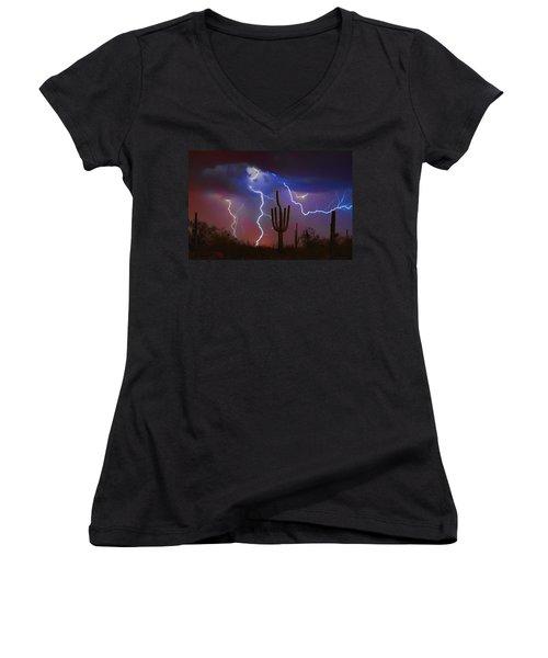 Saguaro Lightning Nature Fine Art Photograph Women's V-Neck (Athletic Fit)