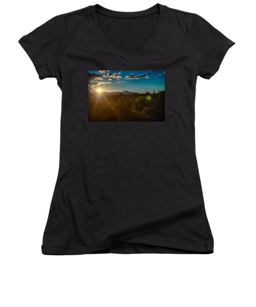 Women's V-Neck T-Shirt (Junior Cut) featuring the photograph Saguaro National Park by Dan McManus