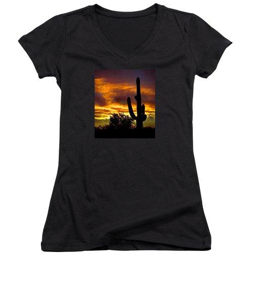 Saguaro Silhouette  Women's V-Neck T-Shirt (Junior Cut) by Robert Bales