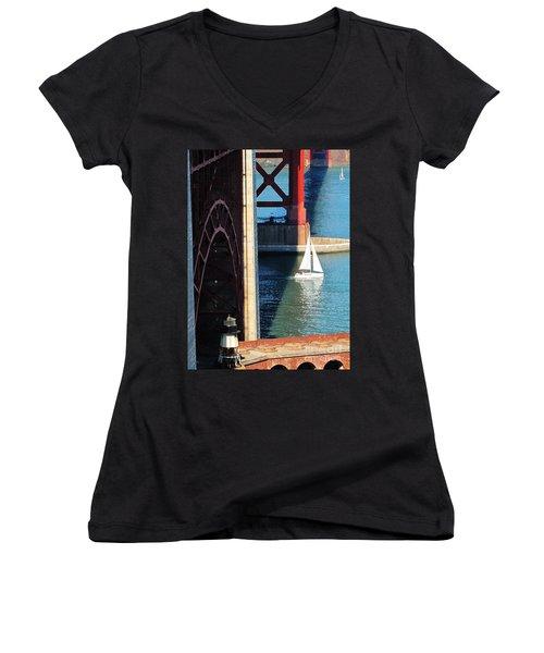Sail Boat Passes Beneath The Golden Gate Bridge Women's V-Neck (Athletic Fit)