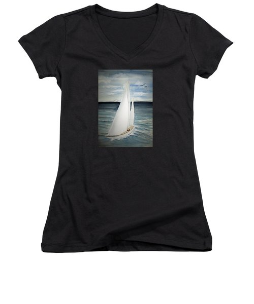 Sailing Women's V-Neck T-Shirt (Junior Cut) by Elvira Ingram