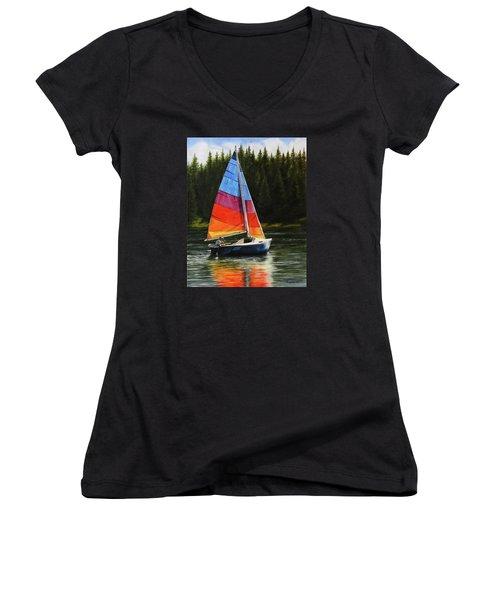 Sailing On Flathead Women's V-Neck T-Shirt (Junior Cut) by Kim Lockman