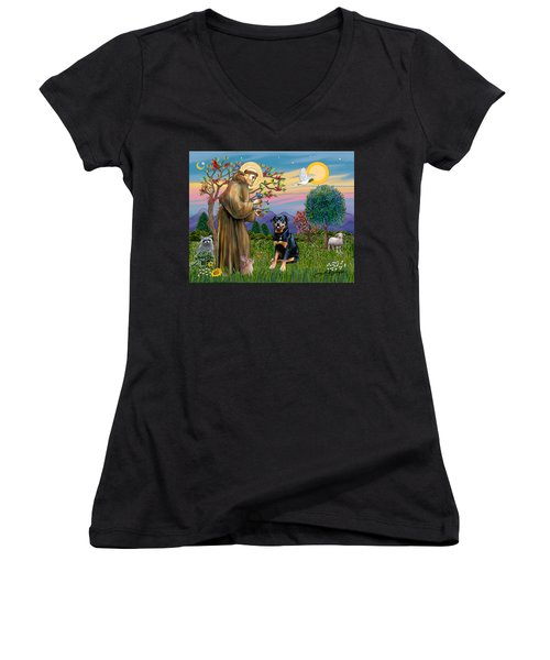 Saint Francis Blesses A Rottweiler Women's V-Neck (Athletic Fit)