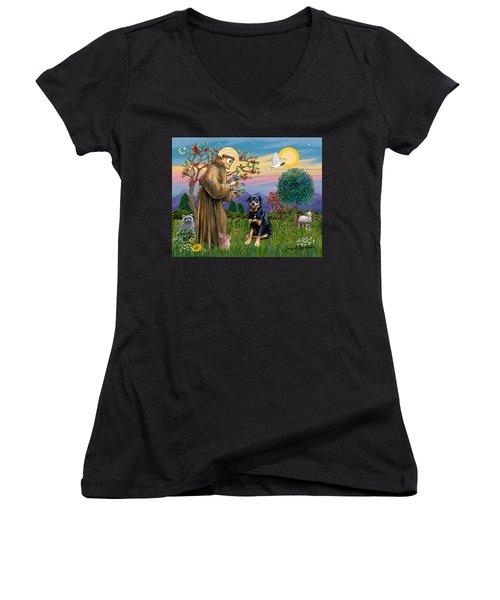 Saint Francis Blesses A Rottweiler Women's V-Neck T-Shirt