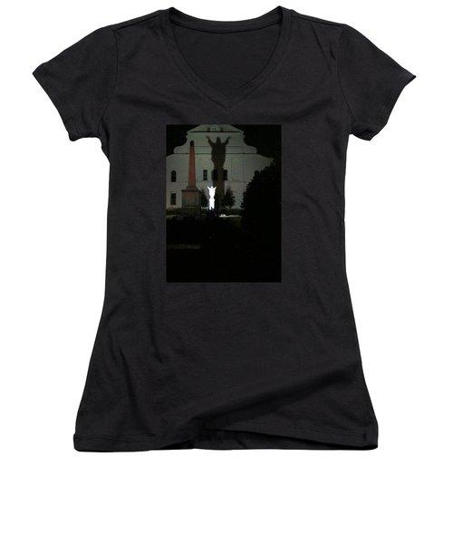 Saint Louis Cathedral Courtyard - New Orleans La Women's V-Neck T-Shirt (Junior Cut) by Deborah Lacoste