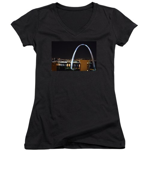 Women's V-Neck T-Shirt (Junior Cut) featuring the photograph Saint Louis Skyline And Jefferson Expansion Arch by Jeff at JSJ Photography